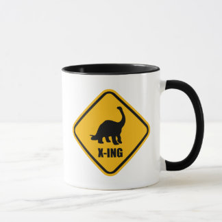 Dinosaur Crossing Street Sign Mug