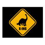 Dinosaur Crossing Street Sign Postcard
