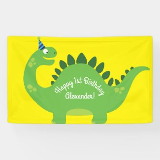 Dinosaur Cute 1st Birthday Party Banner Decor