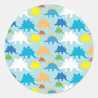 Dinosaur Designs Blue Orange Yellow Red Dinosaurs Classic Round Sticker