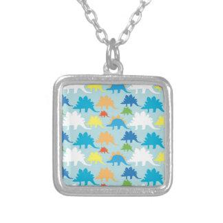 Dinosaur Designs Blue Orange Yellow Red Dinosaurs Square Pendant Necklace
