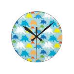 Dinosaur Designs Blue Orange Yellow Red Dinosaurs Round Clock