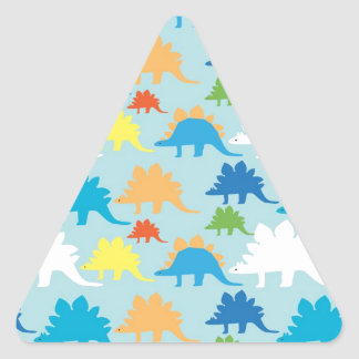 Dinosaur Designs Blue Orange Yellow Red Dinosaurs Triangle Sticker