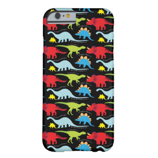Dinosaur Designs Blue Red Green on Black Barely There iPhone 6 Case