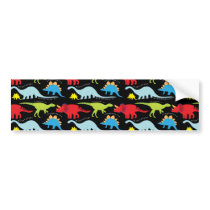 Dinosaur Designs Blue Red Green on Black Bumper Sticker