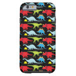 Dinosaur Designs Blue Red Green on Black Tough iPhone 6 Case