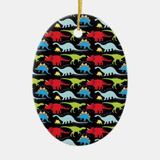 Dinosaur Designs Blue Red Green on Black Ceramic Ornament
