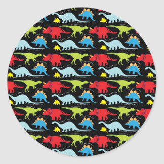 Dinosaur Designs Blue Red Green on Black Classic Round Sticker