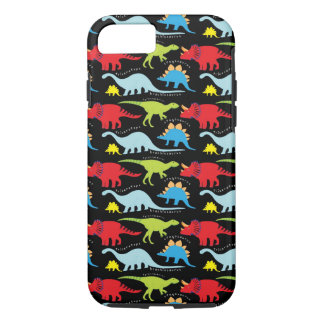 Dinosaur Designs Blue Red Green on Black iPhone 7 Case