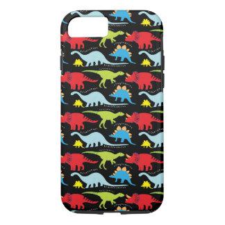 Dinosaur Designs Blue Red Green on Black iPhone 7 Case