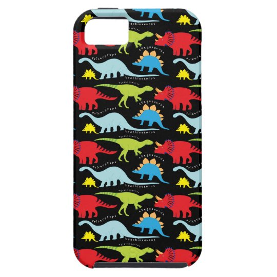 Dinosaur Designs Blue Red Green on Black iPhone SE/5/5s Case