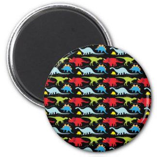 Dinosaur Designs Blue Red Green on Black Magnet