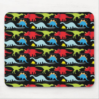 Dinosaur Designs Blue Red Green on Black Mouse Pads