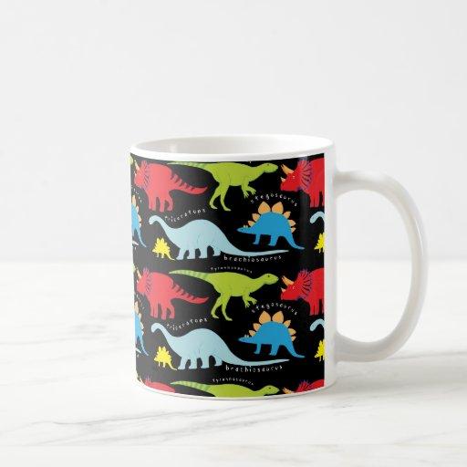 Dinosaur designs blue red green on black coffee mugs zazzle for Blue mug designs