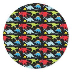 Dinosaur Designs Blue Red Green on Black Sticker