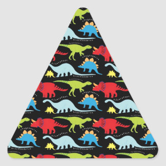 Dinosaur Designs Blue Red Green on Black Triangle Sticker