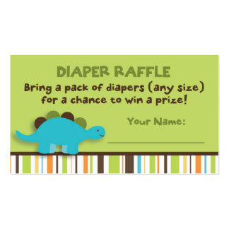 Dinosaur Diaper Raffle Tickets Double-Sided Standard Business Cards (Pack Of 100)