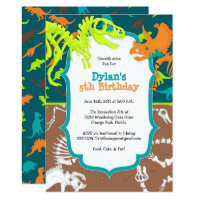 Dinosaur birthday invitations announcements zazzle dinosaur dig birthday party invitation stopboris Images