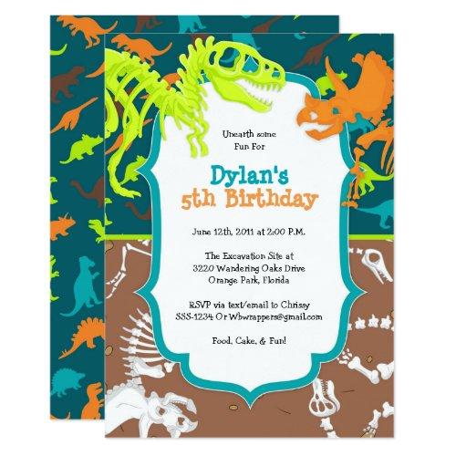 Dinosaur Dig Birthday Party Invitation