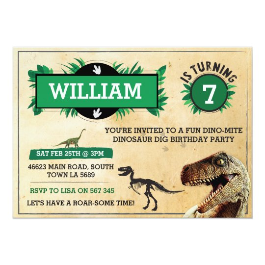 Green T REX Dinosaur Birthday Party Invitations Xmas