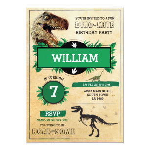 Green T REX Dinosaur Birthday Party Invitations