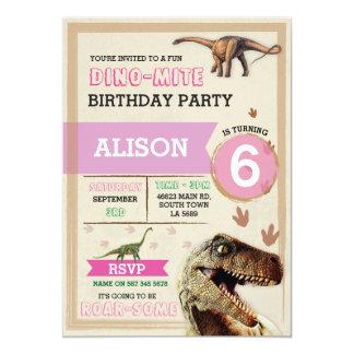 Dinosaur Dig Birthday Party T-Rex Dino Pink Invite
