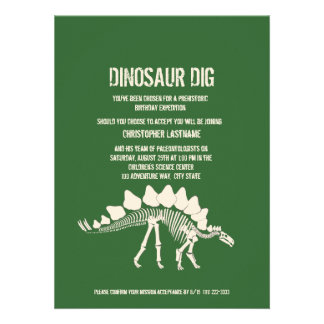 Dinosaur Dig Birthday Personalized Announcement