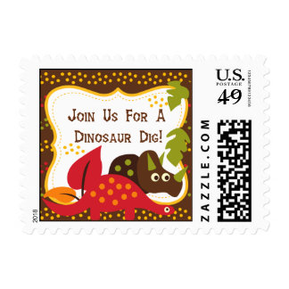 Dinosaur Dig Birthday Postage Stamps