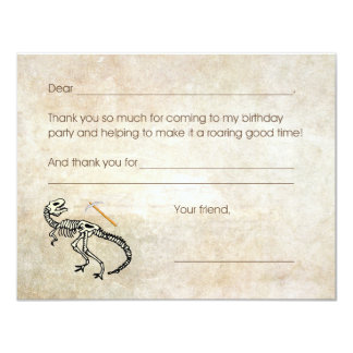 Dinosaur Dig Fossil Birthday Party Thank you note Card
