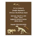 "Dinosaur Dig Skeleton Birthday Party Invitation 4.25"" X 5.5"" Invitation Card"