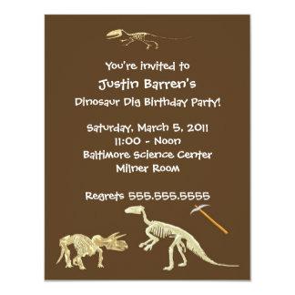 Dinosaur Dig Skeleton Birthday Party Invitation