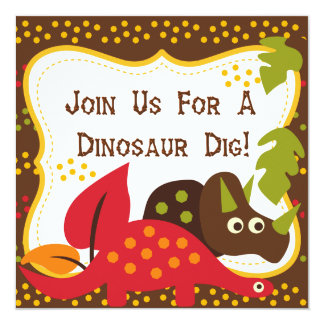 Dinosaur Dino Dig Birthday Invitations