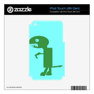 Dinosaur Dino, Green Blue Digital Kids Art Decal For iPod Touch 4G