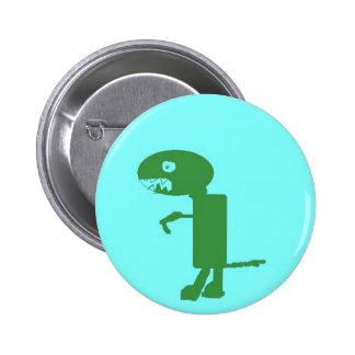 Dinosaur Dino, Green Blue Digital Kids Art Pinback Button