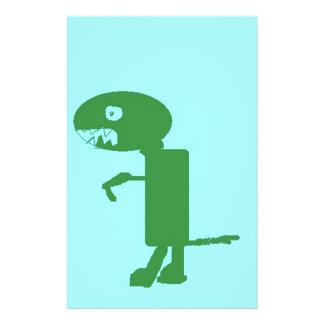 Dinosaur Dino, Green Blue Digital Kids Art Stationery