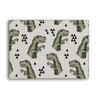 Dinosaur Dino T-Rex Green Grey Boy / Andrea Lauren Envelope