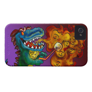 Dinosaur Dragon Cooking Marshmallows With Breath iPhone 4 Case-Mate Cases