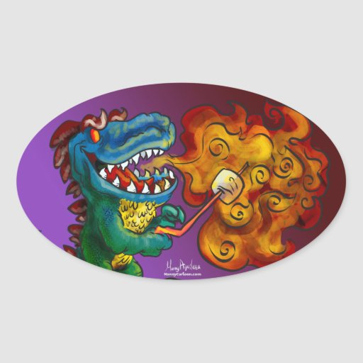 Dinosaur Dragon Cooking Marshmallows With Breath Oval Sticker