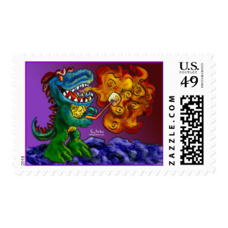 Dinosaur Dragon Cooking Marshmallows With Breath Postage Stamp