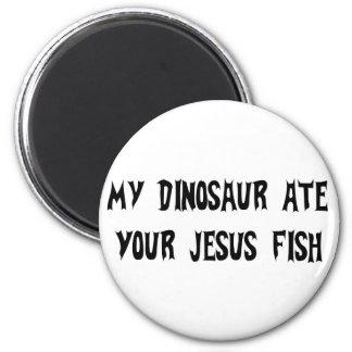 Dinosaur Eats Jesus Fish 2 Inch Round Magnet