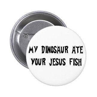 Dinosaur Eats Jesus Fish Button
