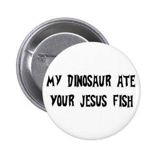 Dinosaur Eats Jesus Fish Pinback Buttons