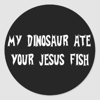 Dinosaur Eats Jesus Fish Classic Round Sticker
