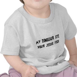Dinosaur Eats Jesus Fish T-shirts