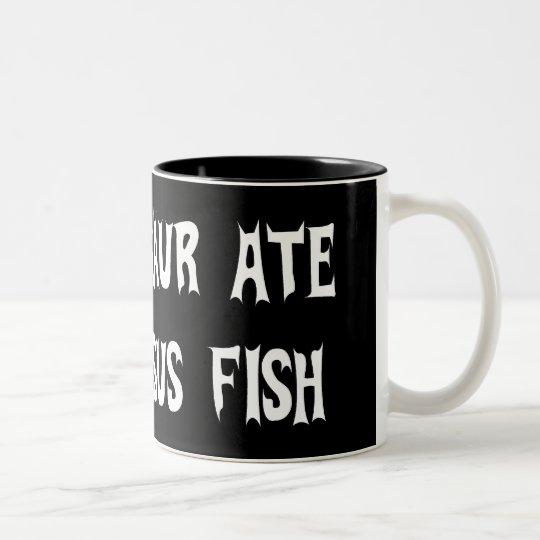 Dinosaur Eats Jesus Fish Two-Tone Coffee Mug