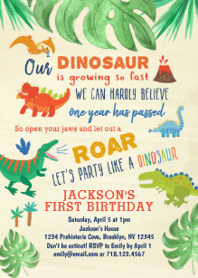 Dinosaur First Birthday Invitations Party