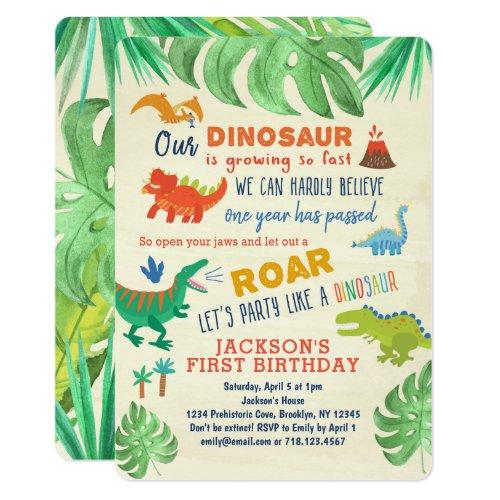 Dinosaur First Birthday Invitations Dinosaur Party