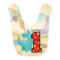 Dinosaur First Birthday Party Custom Baby Bib