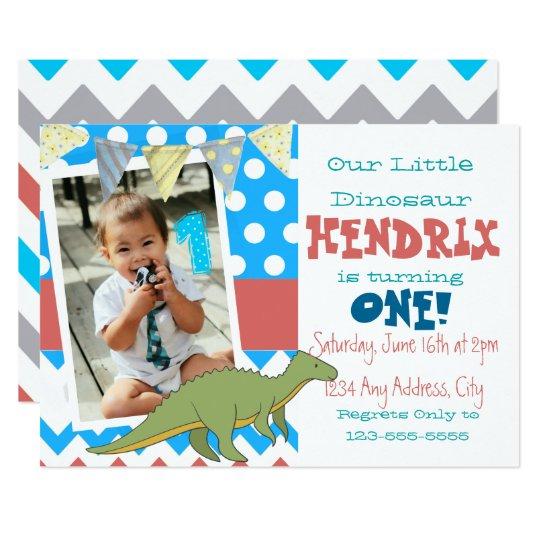 Dinosaur First Birthday Photo Invite