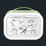 """Dinosaur Fossils Custom Lunch Box<br><div class=""""desc"""">Just the thing for you budding paleontologist,  this water bottles has images of all his/her favorite dinosaur fossil skeletons with customizable name plate. All the images are originally from an 1897 book on paleontology.</div>"""